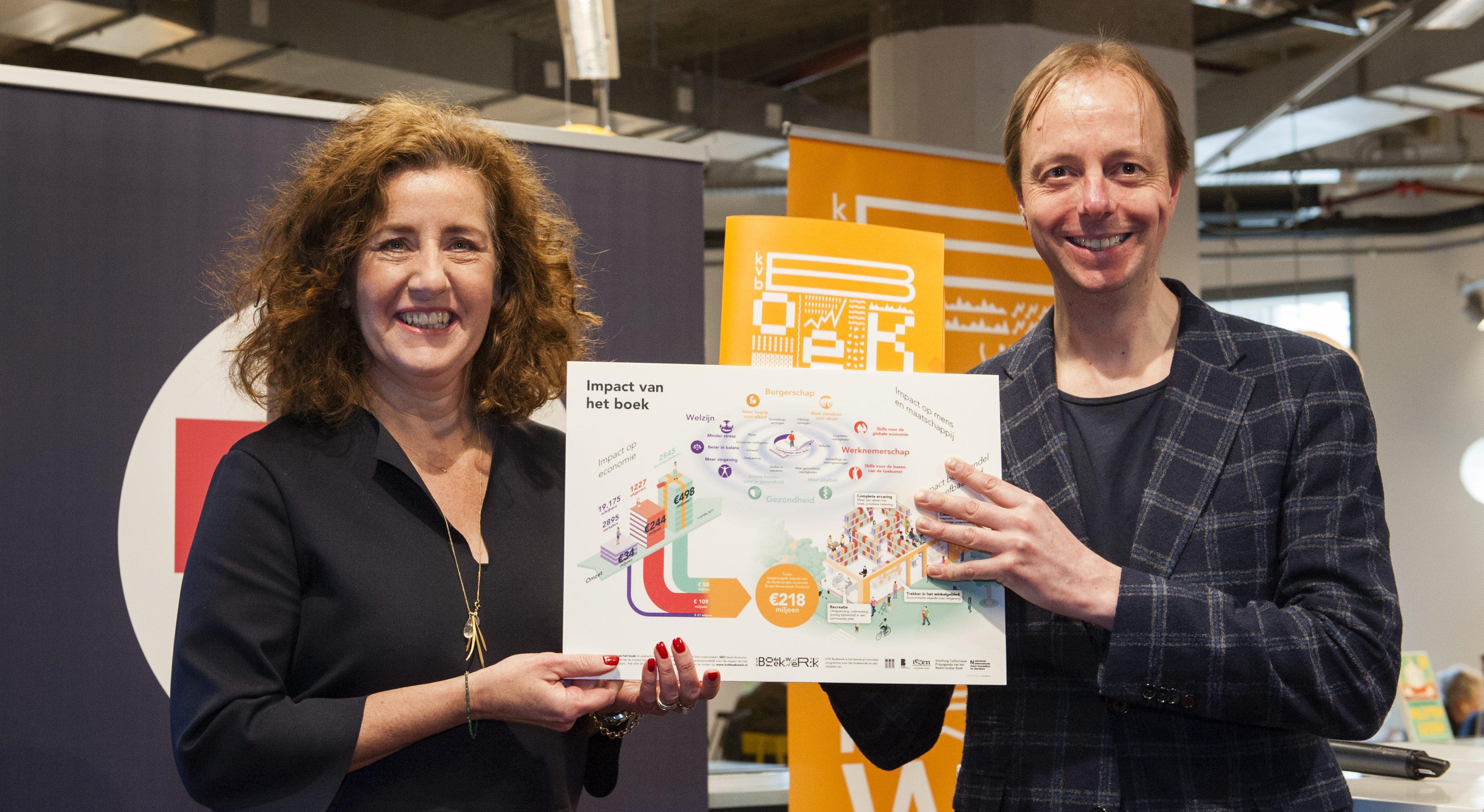 Minister Ingrid van Engelshoven (van OCW) ontvangt het rapport over impact van het boek uit handen van Eelco Zuidervaart (directeur van boekhandel Donner)