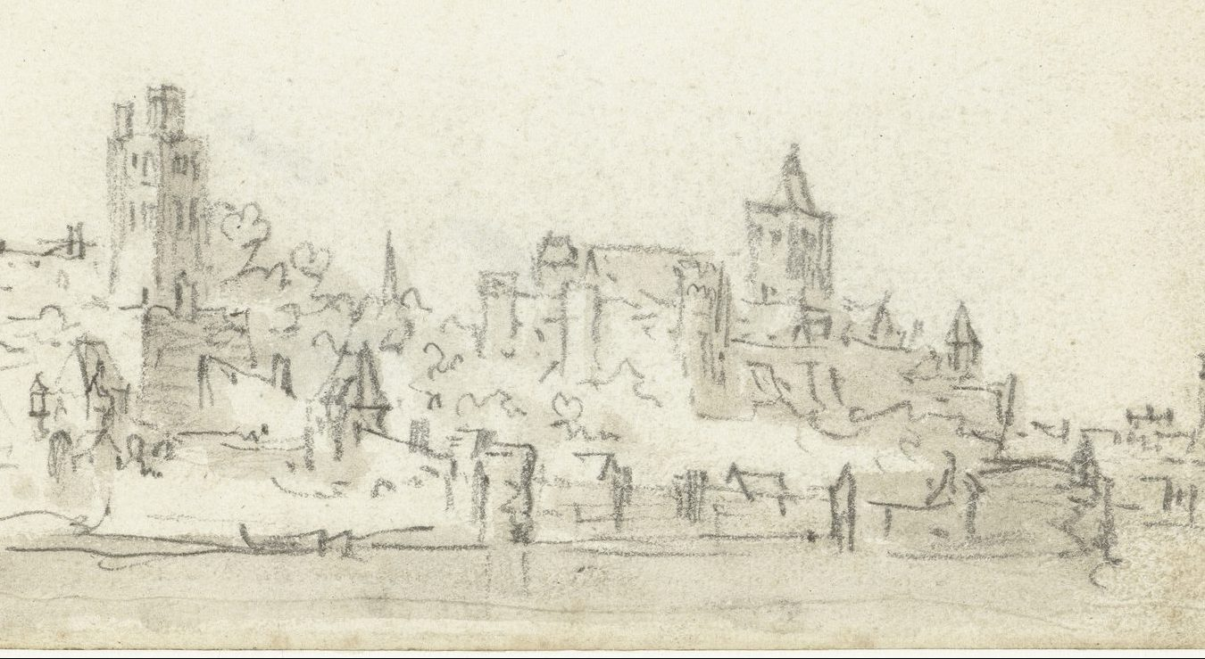 Een oude tekening met een schets van de stadsgezicht Nijmegen