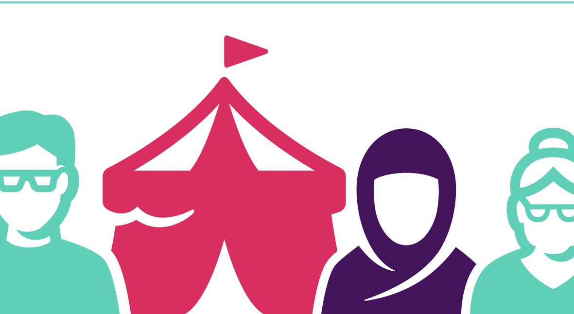 afbeelding van de cover van nota cultuurbeleid, met gestileerde tekening van verschillende mensen en een circustemt
